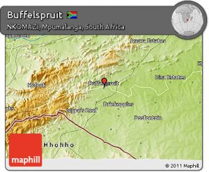 Fancy physical 3d map of Buffelspruit in NKOMAZI, Mpumalanga, South Africa.
